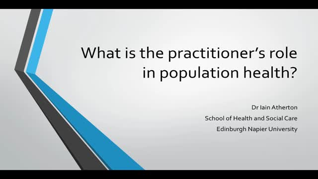 What is the practitioner's role in population health?