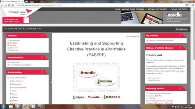 Accessing Mahara ePortfolio from Moodle