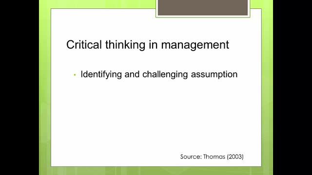 dissertation maze- unit 4 -the importance of critical thinking in managment