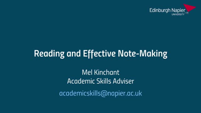 Reading and Effective Note-Making