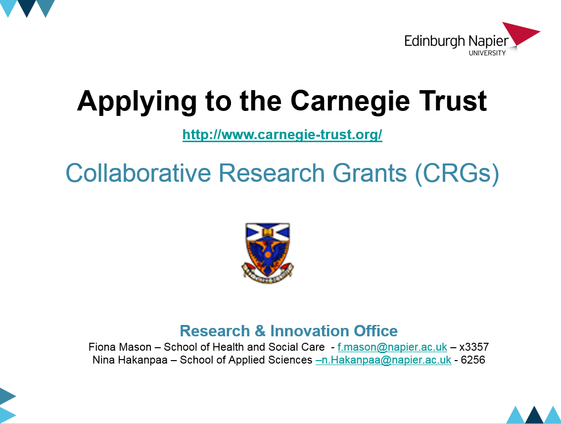 Applying to the Carnegie Trust: Collaborative Research Grants (CRGs)