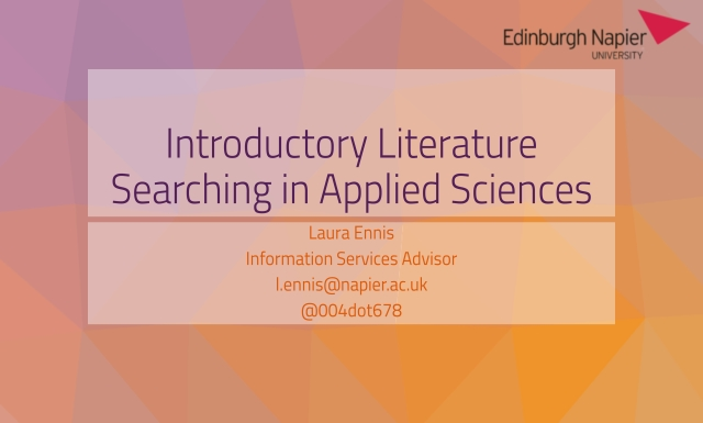 Introductory Literature Searching in Applied Sciences